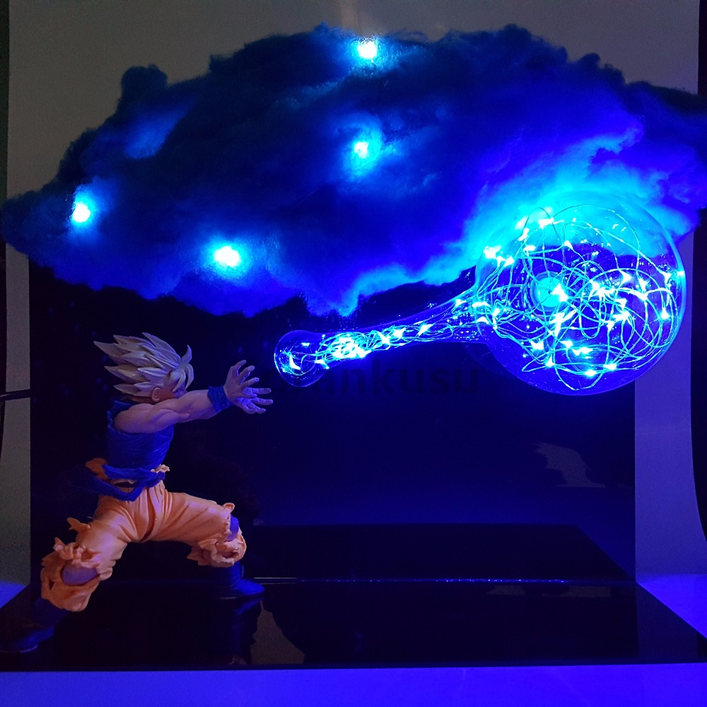 Dragon Ball Z Son Goku Kamehameha DIY Set Anime Dragon Ball Z Goku Super Saiyan DBZ Led Cloud Action Figures Toy Gift dragon ball z son goku vs broly super saiyan pvc action figures dragon ball z anime collectible model toy set dbz