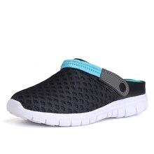 Sandalias deslizantes de malla transpirables para hombre y mujer, zapatos de verano, 46 47 talla grande, 2020