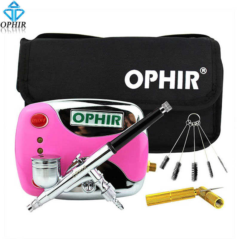 OPHIR Mini Air Compressor Kit with Dual Action Airbrush & Cleaning Tools for Temporary Tattoo Nail Art_AC(002G+004+023+035+080) ophir pro 2x dual action airbrush kit with air tank compressor for tanning body paint temporary tattoo spray gun  ac090 004a 074