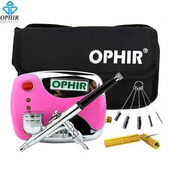 OPHIR Mini Air Compressor Kit with Dual Action Airbrush & Cleaning Tools for Temporary Tattoo Nail Art_AC(002G+004+023+035+080)