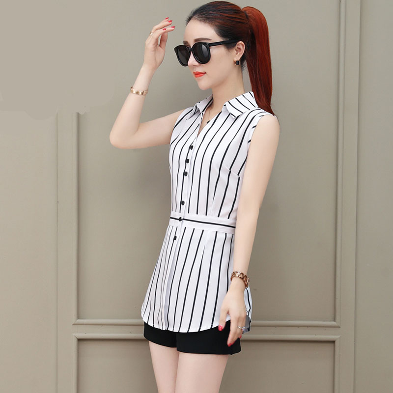 Women Spring Summer Long Style Chiffon Blouses Shirts Lady Casual Sleeveless Striped Turn-down Collar Blusas Tops DF1927