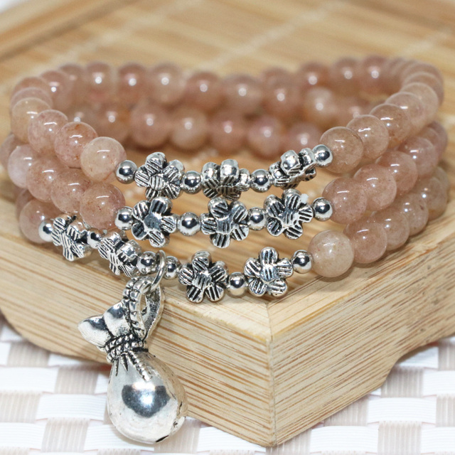 Fashion costume top quality strawberry quartz 6mm round beads multilayer bracelets silver-plated money bag pendant jewelry B2199