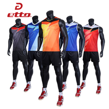 Etto Professional Men Sleeveless Jersey Volleyball Suit Sets Quick Dry Volleyball Team