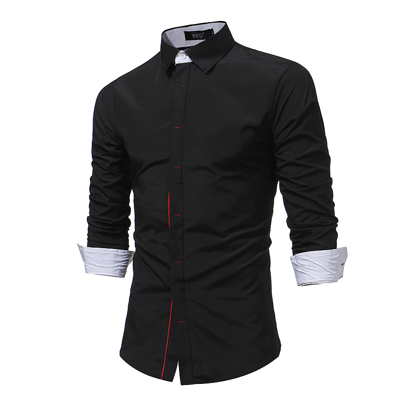 Brand 2018 Fashion Male Shirt Long-Sleeves Tops Hit Color Buttons Mens Casual Dress Shirts Slim Men Shirt XXXL