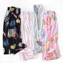 Womens cotton seven-cent wide-legged pants Summer thin household loose Size Cotton Pajamas