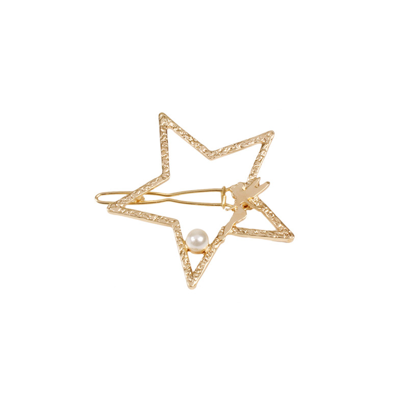 2017 free shipping woman new fashion jewelry Spring and summer new angel five pointed gold hair