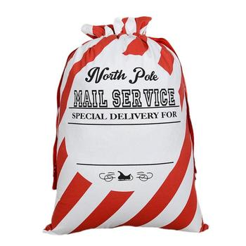 10 PCS Christmas Gift Bag Red Stripe Drawstring Canvas Santa Sack Candy Bag Bauble Christmas Ornaments Xmas New Year Supplies