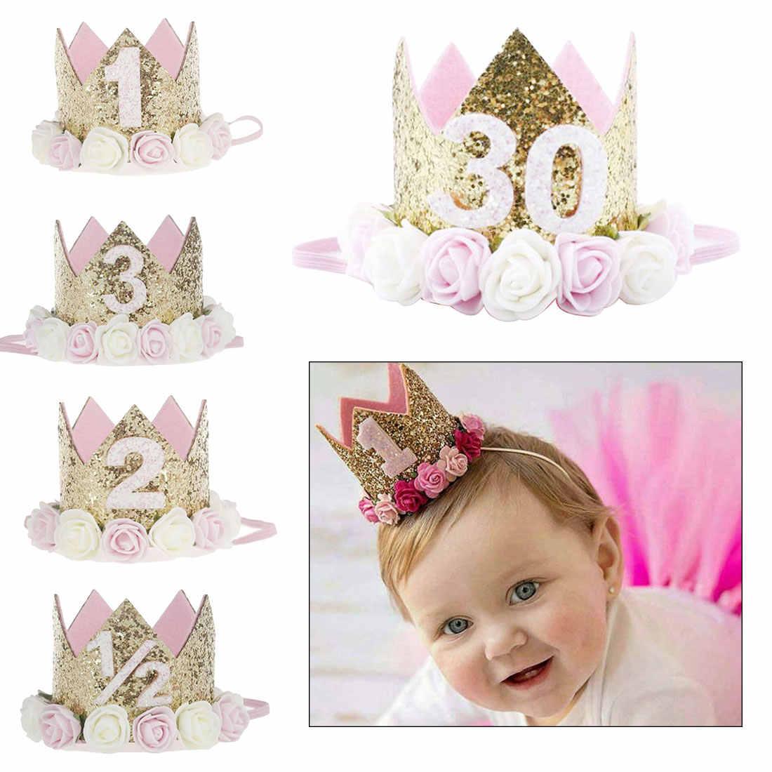 Для маленьких девочек Шляпы для вечеринки по случаю Дня рождения детей От 1 до 3 лет День рождения принцессы короны детские номер Кепки вечерние украшения спрос среди детей повязка на голову