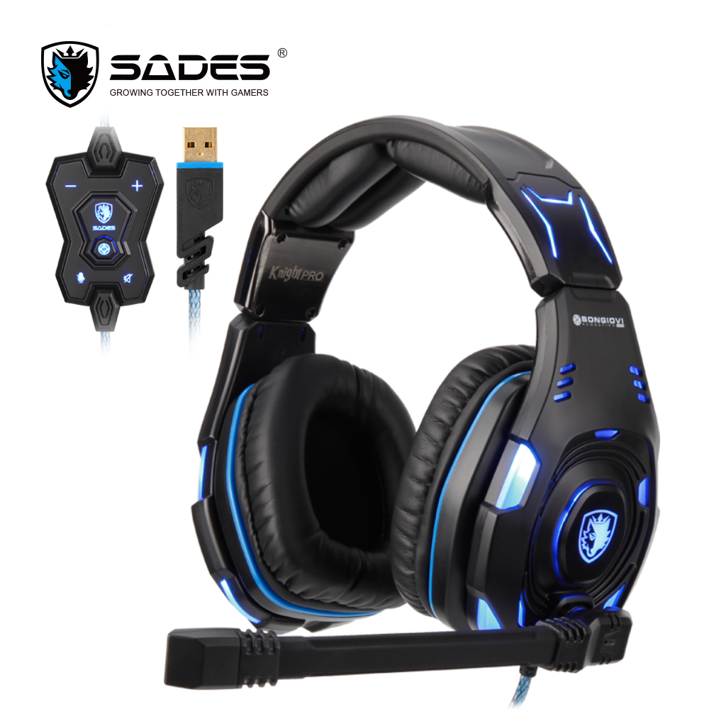SADES Knight Pro Professional Gaming Headset on line Remote BONGIOVI Audio Engine Noise cancelling Headphones for