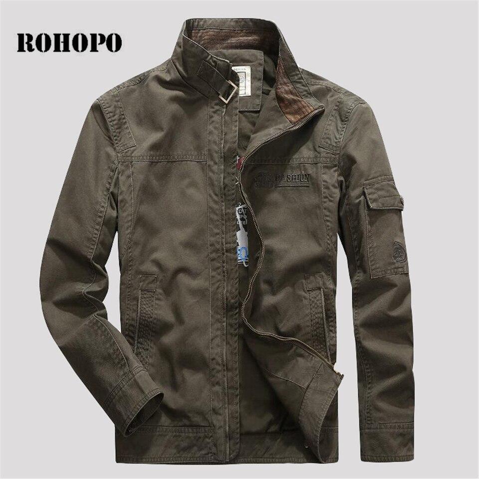 ROHOPO 100% cotton jacket Military Cotton Jacket,Mandarin collar Printed Cotton Inner Big size male cargo jacket autumn Куртка