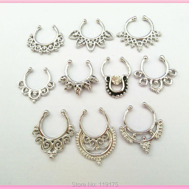 Tabique piercing clicker anillo piercing nariz multi cristal Helix escudo piercing