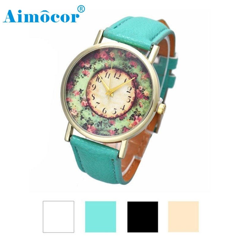 2017 Newly Designed Relogio Feminino Clock Pastorale Floral Women Leather Band Analog Quartz Dial Wrist Watch Gift 322 classic brown genuine leather band men women day date display dial analog quartz wrist watch casual wristwatch relogio feminino