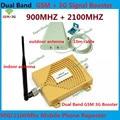 Conjuntos completos de GSM 900 MHz GSM 2100 MHz Dual Band GSM Repetidor 3G W-CDMA Repetidor de Sinal de Telefone Móvel Impulsionador amplificador Com Antena