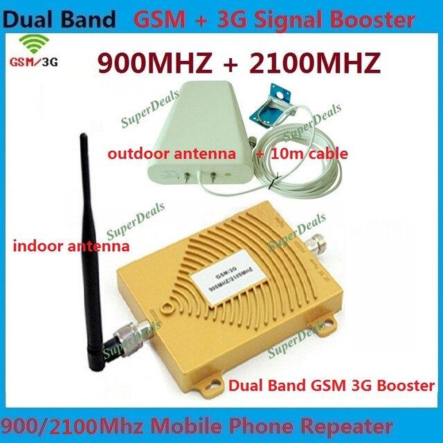 Juegos completos GSM 900 MHz GSM 2100 MHz Repetidor de Doble Banda GSM 3G W-CDMA Teléfono Móvil Repetidor de Señal Booster amplificador De la Antena