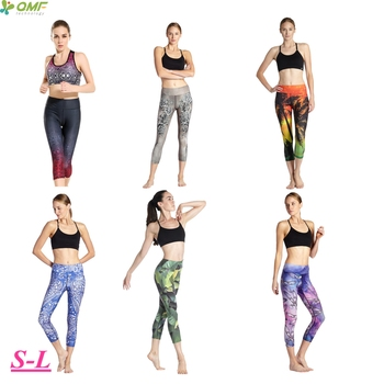 Printed Blossom Rose Running Capris Tights Stretchy Compression Athletic Sports Leggings Pants Slim Fit 34 Length Trouser Women tights