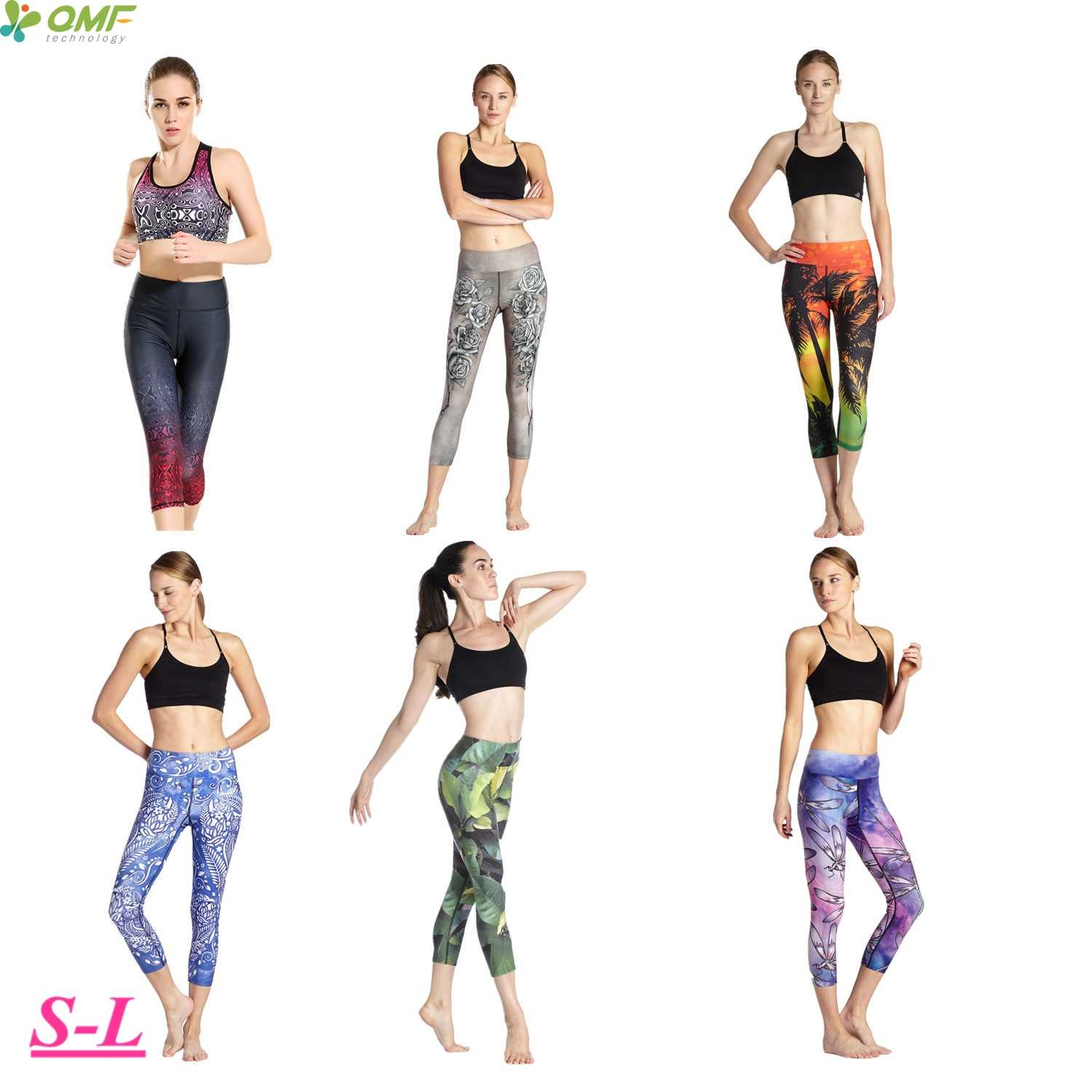 51b6704f35c6f Printed Blossom Rose Running Capris Tights Stretchy Compression Athletic  Sports Leggings Pants Slim Fit 3/