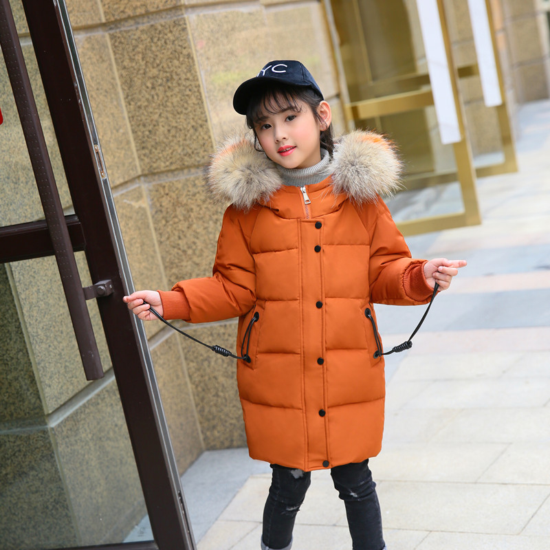 HSSCZL Girls duck down jacket 2018 new brand winter thicken natural fur collar hooded coat outerweat overcoat colored fur 5-14A цена