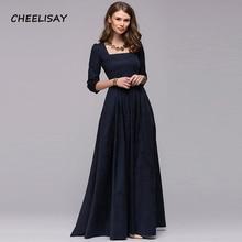купить Women Vintage square collar long dress New Elegant solid color 3/4 sleeve party vestidos Casual Spring autumn dress по цене 1645.08 рублей