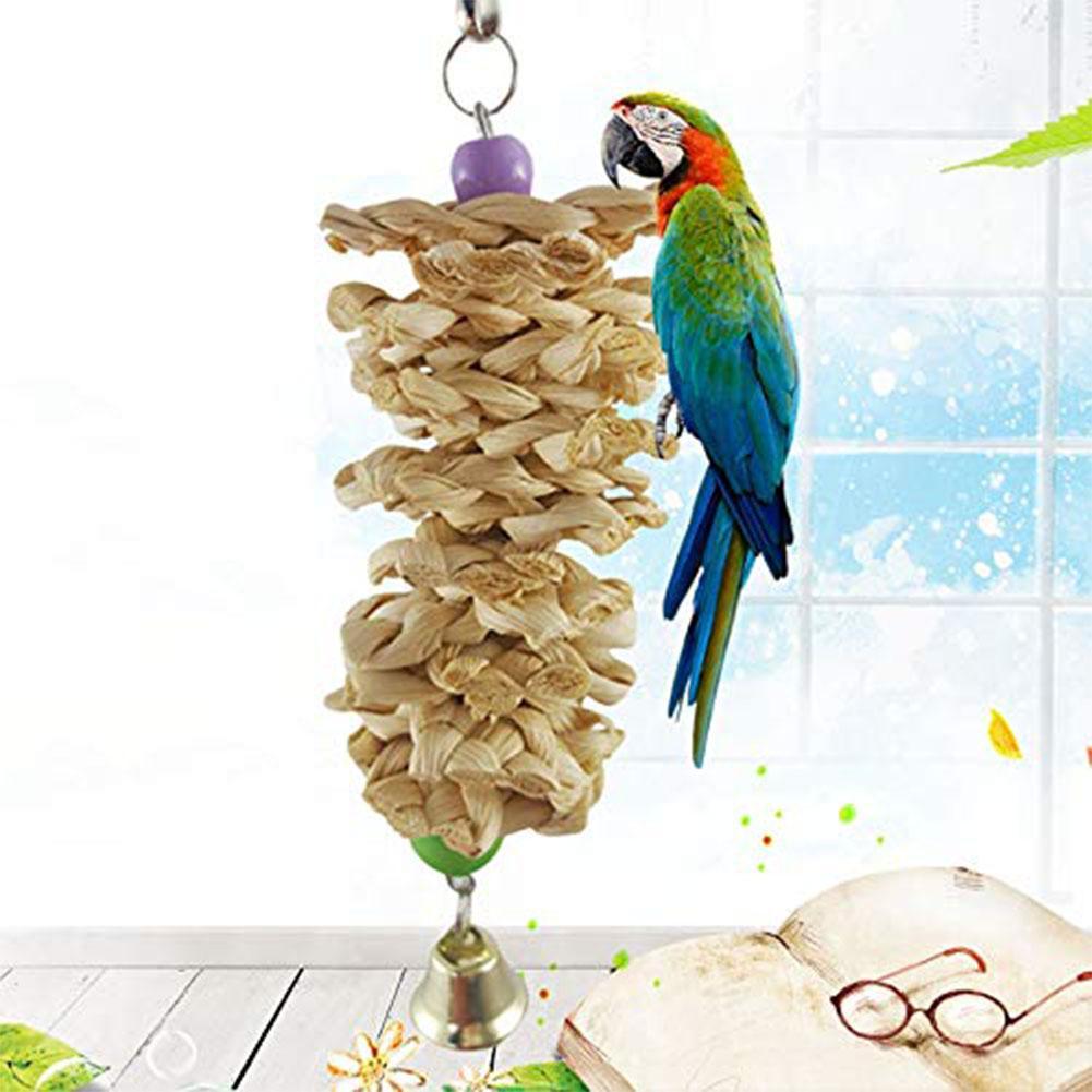 SaiDeng Птица Попугай Игрушка с колокольчиком натуральная деревянная трава жевательный укус подвесная клетка качели подъем жевательные игрушки-25