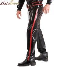 Модные латекса брюки с поясом латекс брюки LTM026