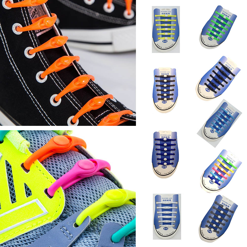 12PCS Lazy No Tie Elastic Silicone Shoe Laces Athletic Running Sport Shoelaces Children and Adult Shoe Strings For NMD Sneakers 12pcs set silicone children adult running no tie shoe lace sneakers solid color lazy elastic latchet adult running no tie shoe