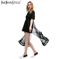 TWOTWINSTYLE 2016 Summer New Cotton T Shirt Stitching Lace Mesh Dress Casual Female