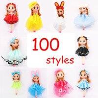 10pcs Lot 16cm Princess Doll Action Figure Toy Mini Dolls Toys Keychain Princess Dolls For Girls