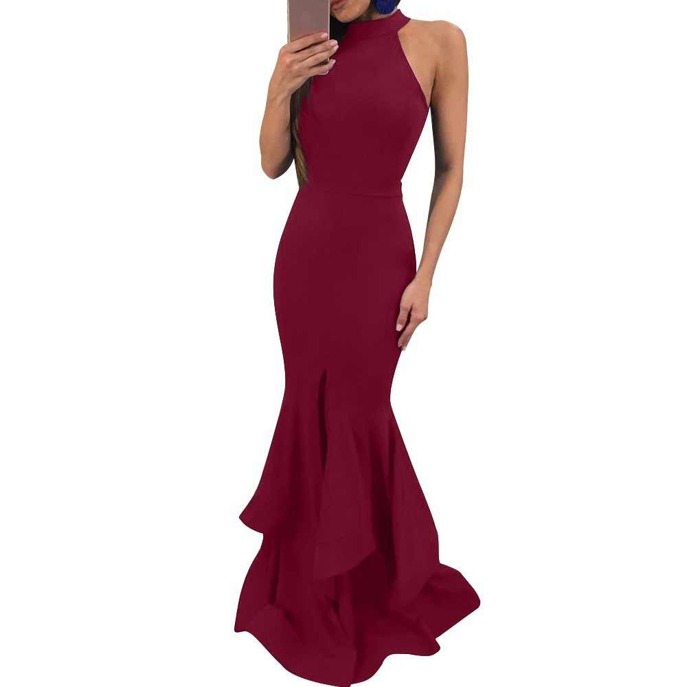 2ce644484d Mermaid Evening Dresses Long Halter Neck Ladies Formal Dress Sexy  Sleeveless Nightclub Style robe de soiree Abendkleider 2019