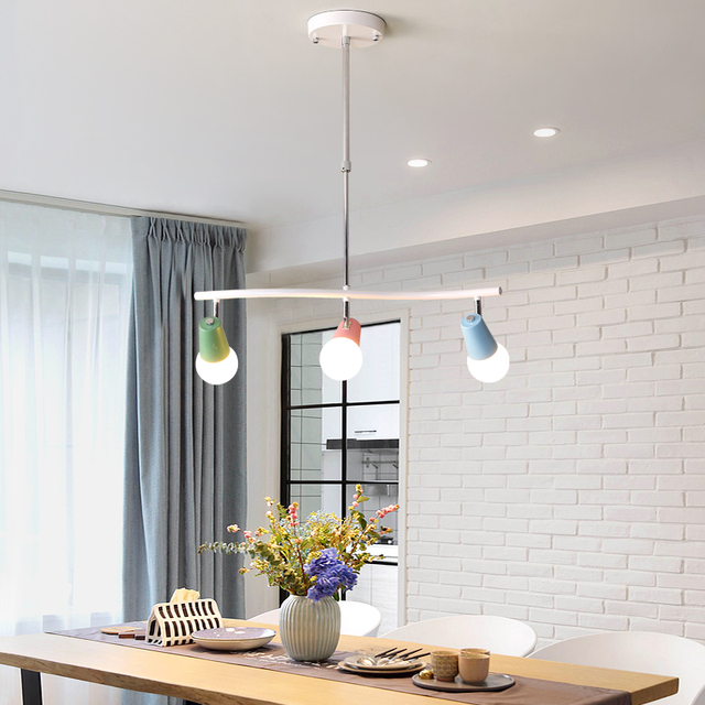 Regron Scandinavian Pendant Lighting Minimalism Creative Led Color Hanging Luminary For Living Room Kids Room Dining Room