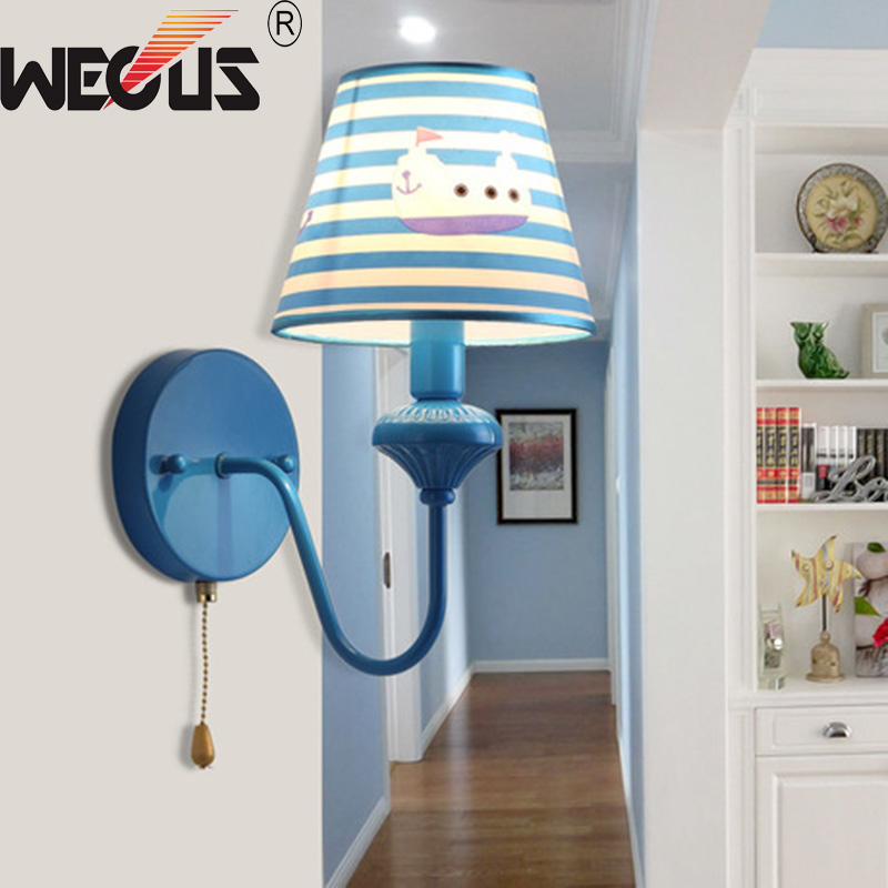 Wecus cute blue wall light boy children room bedside sconce Study background lighting ra ...