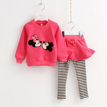 Girl Spring Sweater Skirt Leisure Mickey Children Suit For Kids 2-7Y
