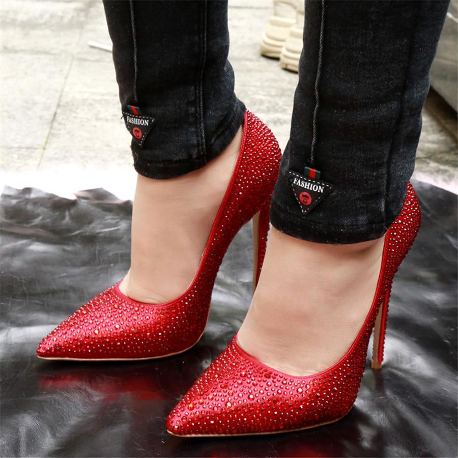 Luchfive Zapatillas De on Bout Cristal Mujer Rouge Suede Peau Chaussures Talon Bling Mouton Simples Haute Femmes Printemps red Pointu Pompes En Slip Noir Black PkZTXOwiu