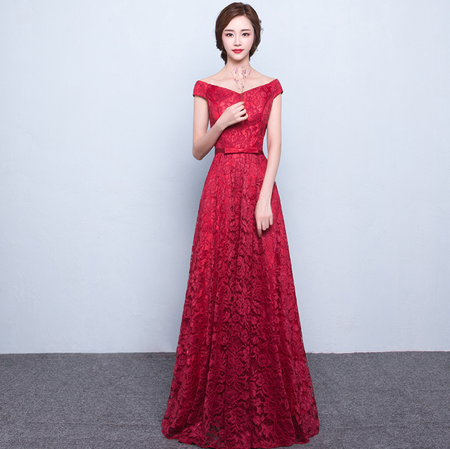 SSYFashion Bride Married Banquet Long Lace Evening Dress Floor-length Elegant Party Prom Dress Custom Plus Size Formal Dresses