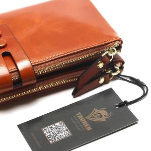 Image 5 - Portefeuilles cire dhuile pour femmes, portefeuille en cuir véritable féminin, fermeture éclair, porte monnaie à Long support pour téléphone, nouvelle mode 2020