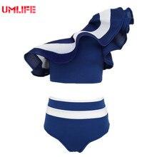 High Waist Falbala Swimsuit Bikinis Female Brand One Shoulder Flounce Swimwear 2017 Women's Two-piece Ruffle Bathing Suits