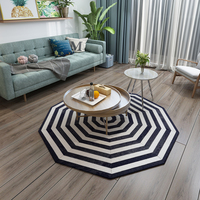 Round shape real natural cowhide patchwork rug white and black colour genuine fur carpet for bedroom decoration office chair mat
