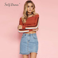 Self Duna 2017 Autumn Women Off Shoulder Knitted Sweater Short Slash Neck Red Black Striped Sexy