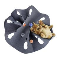 Cat Toy Blanket Innovative Training Blanket Cat Tunnel Toy Play Mat with 3 Plush Catnip inside Balls Interactive Pet Toys 20E