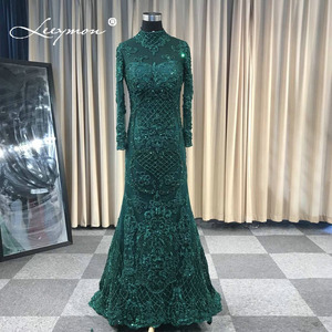 Image 3 - Leeymon カスタムメイド 2020 イスラム教徒のウェディングドレストランペット長袖ヘビービーズブライダルドレス取り外し可能なスカート Vestido デ · ノビア
