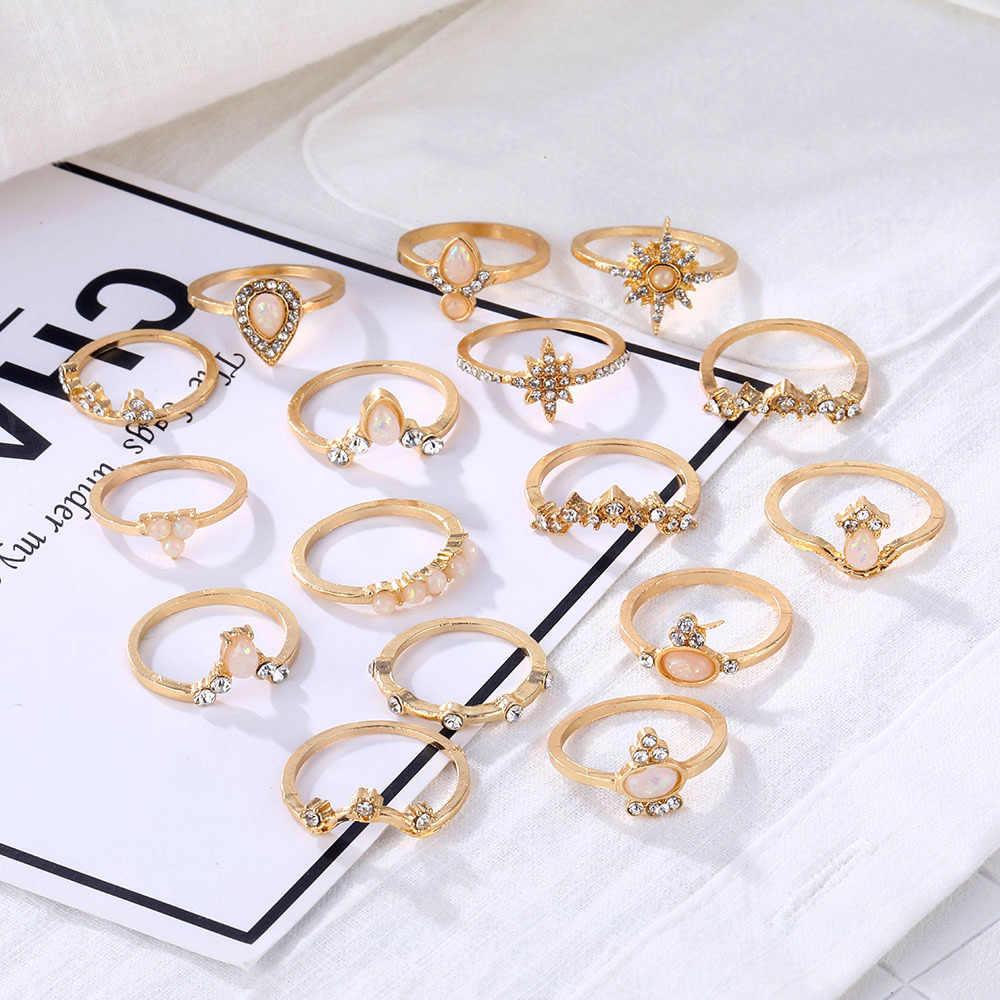 VINTAGE อัญมณีมงกุฎชุดแหวนนิ้วมือ Bohemian GOLD Moon มงกุฎโอปอลคริสตัลเรขาคณิต Knuckle MIDI แหวนเครื่องประดับงานแต่งงาน