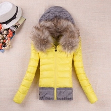 2016 Winter Hot Style Fashion Is Slim The Down Padded Jacket Hooded Sweater Splicing Heavy Hair Led women clothing WY037