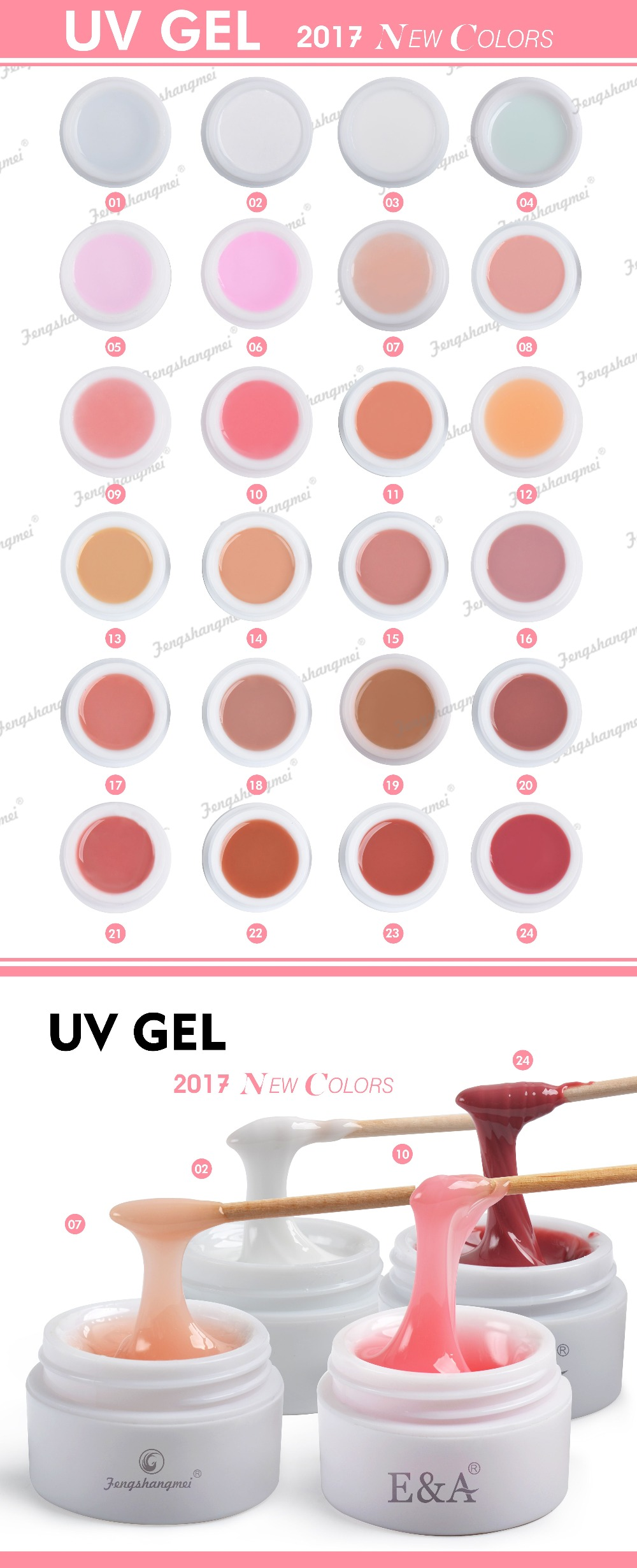 UV gel color chart