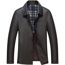 Men's clothing Leather Outfit  male turn-down collar leather jacket high quality business casual sheepskin leather coat