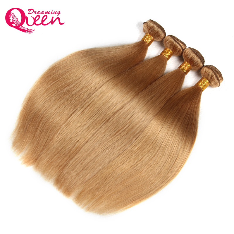 #27 Honey Blonde Brazilian Straight Human Hair Weave Bundles No Remy Human Hair Extension Weave Dreaming Queen Hair Products