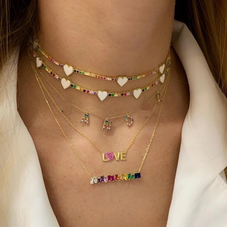 2019 Europe and America AAA Cubic Zirconia Rainbow Necklace Neck Jewelry Female Stacked Clavicle Chain KL064