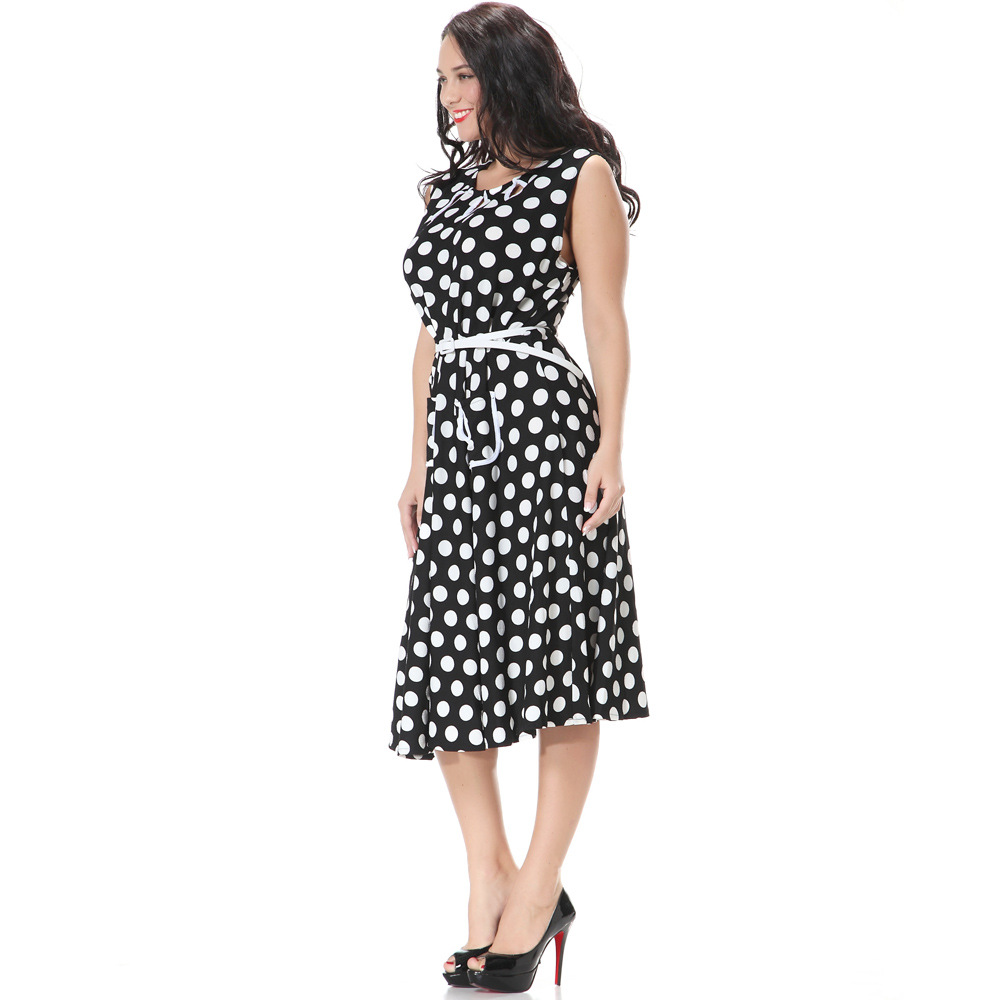 2019 Vintage Women Summer Polka Dot Dress <font><b>7XL</b></font> O Neck Sleeveless A-Line Slim Club Party Dress <font><b>Vestidos</b></font> <font><b>mujer</b></font> verano with Pockets image
