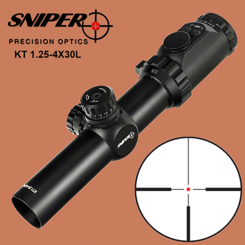 цена на SNIPER KT 1.25-4X30 L Hunting Riflescope Glass Etched Reticle Tactical Optical Sight Red Green Illuminated Rifle Scope 35mm Tube