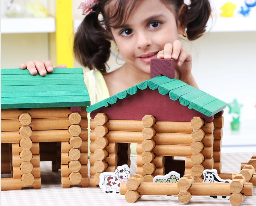 Children Wooden Lincoln Cottage Building Blocks Toy Forest Log Set Kids Creative Lumber Farm and Shop Wooden Building House Toy