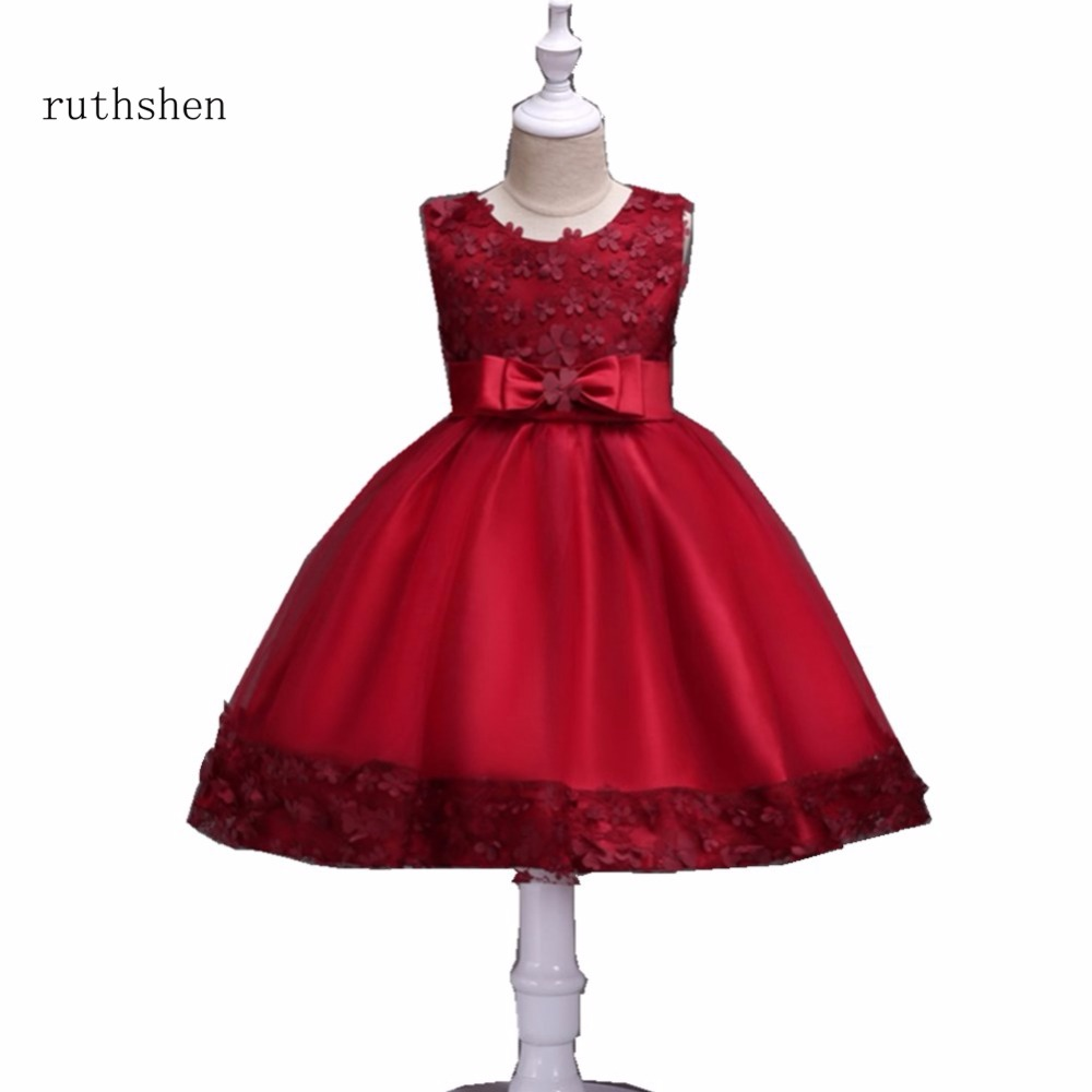 ruthshen 2018 Sweet Princess Ball Gown Sleeveless Bow   Flower     Girl     Dresses   With Lace Cheap Fashion For Wedding Party Ball Gown