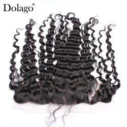 13x4 кружева Фронтальная застежка с ребенком волосы глубоко закрытие волна бразильский волос предварительно сорвал 100% человеческих Волосы